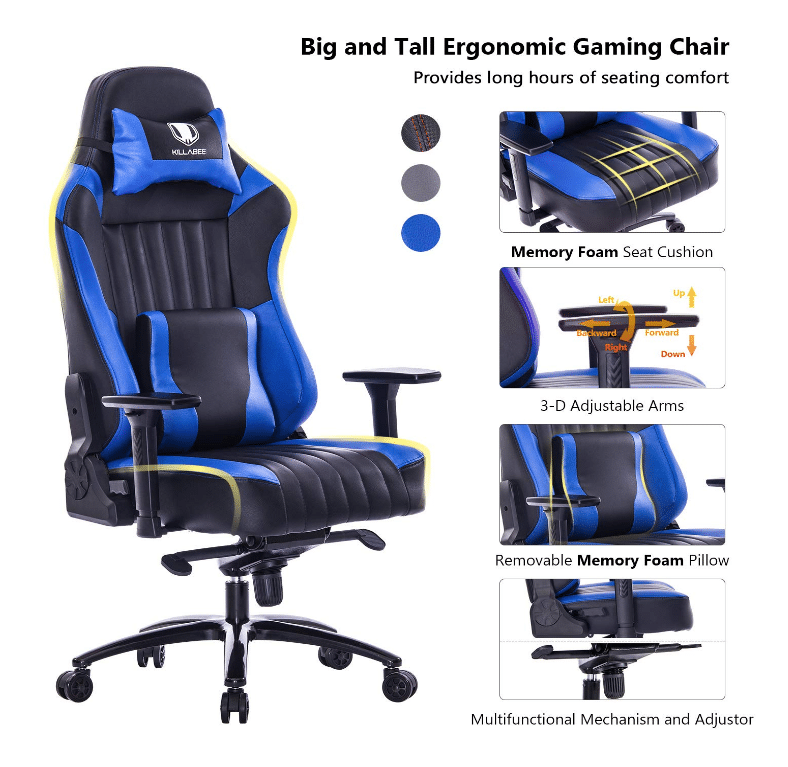 Upgrade Version KILLABEE Big and Tall 350lb Massage Gaming Chair